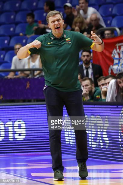 Lithuania's Head Coach Dainius Adomaitis reacts during the FIBA EuroBasket 2017 championship match between Germany and Lithuania at Menora Mivtachim...