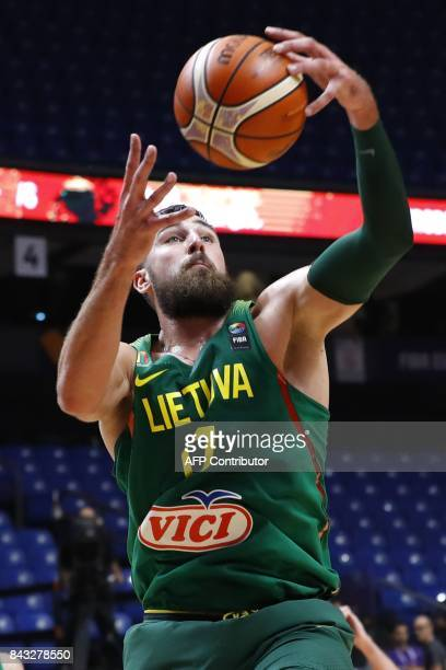 Lithuania's Jonas Valanciunas controls the ball during the FIBA EuroBasket 2017 championship match between Germany and Lithuania at Menora Mivtachim...