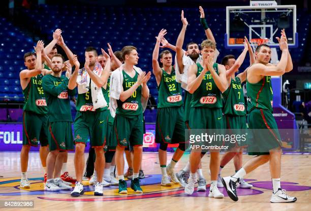 Lithuania's plays clap to their fans after the FIBA EuroBasket 2017 championship basketball match between Ukraine and Lithuania at the Menora...