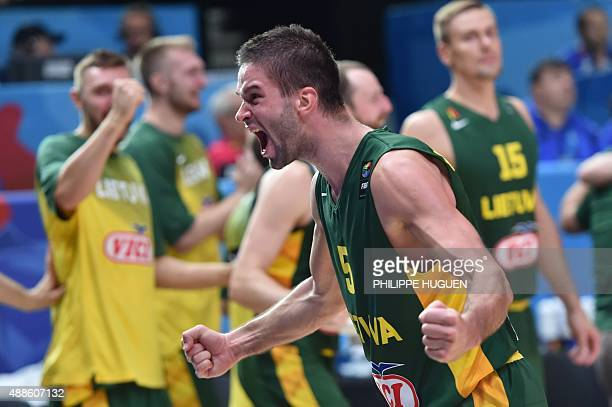 Lithuania's point guard Mantas Kalnietis reacts after Lithuania defeated Italy in their round of 8 basketball match at the EuroBasket 2015 in Lille...