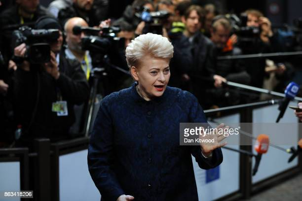 Lithuania's President Dalia Grybauskaite arrives ahead of the second day of European Council meetings at the Council of the European Union building...