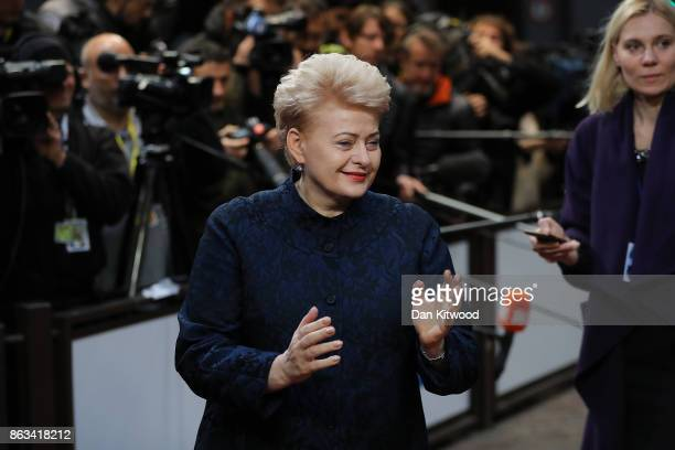 Lithuania's President Dalia Grybauskaite arrives ahead of the second day of European Council meetings at the Council of the European Union building...