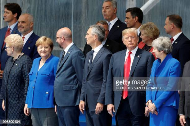 Lithuania's President Dalia Grybauskaite German Chancellor Angela Merkel Belgium's Prime Minister Charles Michel NATO Secretary General Jens...