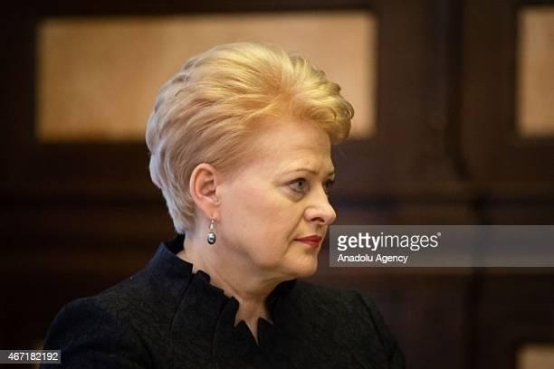 Lithuania's President Dalia Grybauskaite is welcomed by Ukrainian President Petro Poroshenko in Kiev, Ukraine, on March 21, 2015. Lithuania's...