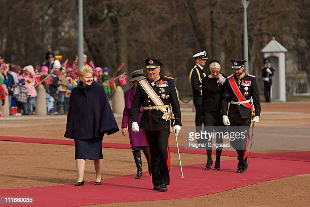 Lithuania's President Dalia Grybauskaite King Harald V of Norway Princess MetteMarit of Norway and Prince Haakon of Norway attend the official...