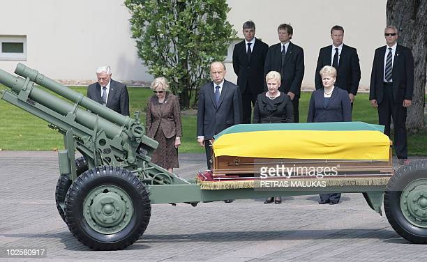 Lithuania's President Dalia Grybauskaite Parliaments speaker Irena Degutiene former Lithuania's President Valdas Adamkus and former First Lady Alma...