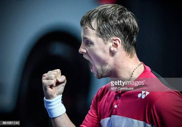 Lithuania's Ricardas Berankis reacts as he plays against Bosnia-Herzegovina's Damir Dzumhur during the Kremlin Cup tennis tournament men's singles...