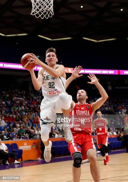 Lithuania's small forward Edgaras Ulanovas drives to the basket for a layup during the FIBA EuroBasket 2017 basketball championship match between...