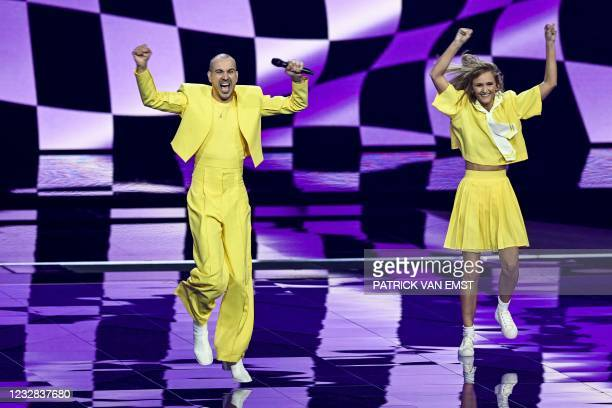 Lithuania's The Roop is seen on stage during the second rehearsal for the first semifinal of the Eurovision Song Contest in Rotterdam on May 12 which...