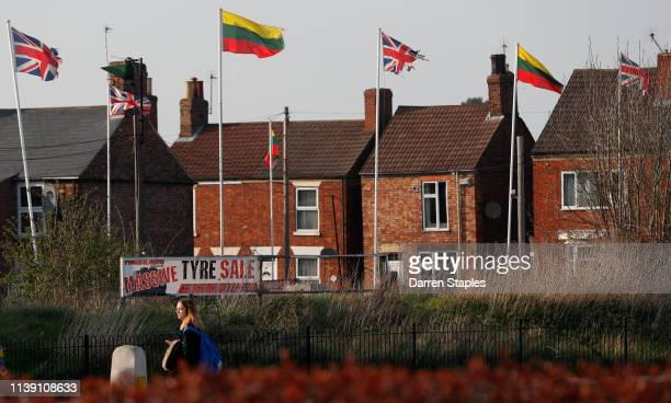 Lithuaninan and Union flags fly above a business premises on March 29 2019 in Boston England The town of Boston in Lincolnshire voted with a 75%...