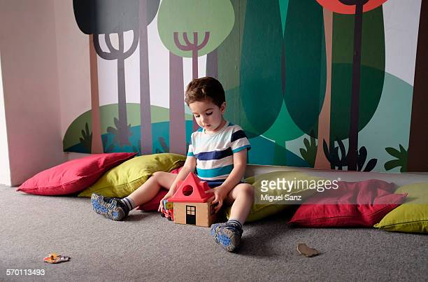 litlle boy, 3 years, playing with wooden toys - 2 3 years stock pictures, royalty-free photos & images
