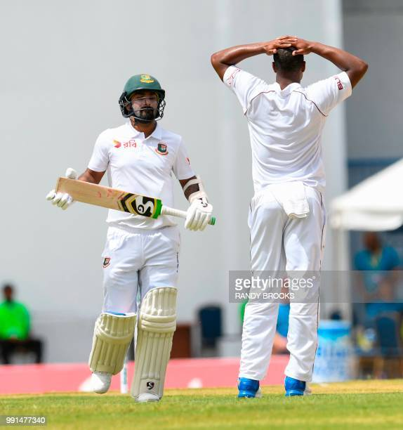 Liton Das of Bangladesh get runs off Shannon Gabriel of West Indies during day 1 of the 1st Test between West Indies and Bangladesh at Sir Vivian...