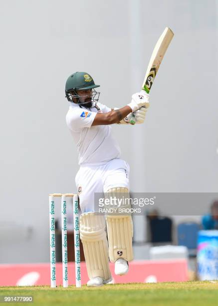 Liton Das of Bangladesh hits 4 during day 1 of the 1st Test between West Indies and Bangladesh at Sir Vivian Richards Cricket Ground North Sound...