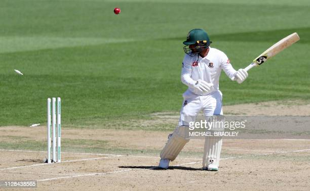 Liton Das of Bangladesh is dissmised during day four of the first cricket Test match between New Zealand and Bangladesh at Seddon Park in Hamilton on...