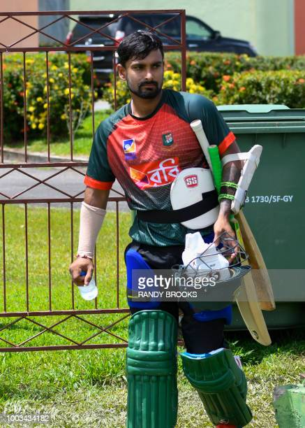 Liton Das of Bangladesh takes part in a training session one day ahead of the 1st ODI match between West Indies and Bangladesh at Guyana National...