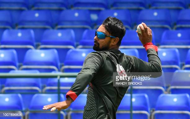 Liton Das of Bangladesh takes part in a training session one day ahead of the 1st Twenty20 Interrnational match between West Indies and Bangladesh at...