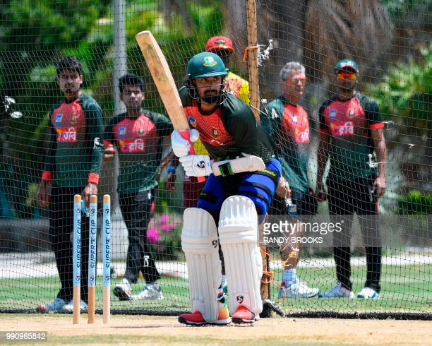 Liton Das of Bangladesh takes part in a training session one day ahead of the 1st Test between West Indies and Bangladesh at Coolidge Cricket Ground...