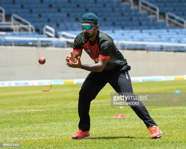 Liton Das of Bangladesh takes part in a training session one day ahead of the 2nd Test between West Indies and Bangladesh at Sabina Park Kingston...