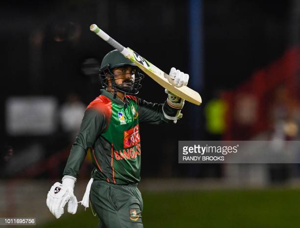 Liton Das of Bangladesh wave to fans during the 3rd and final T20i match between West Indies and Bangladesh at Central Broward Regional Park Stadium...