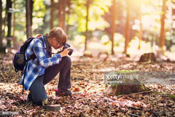 littel girl photographing in forest - imgorthand stock photos and pictures