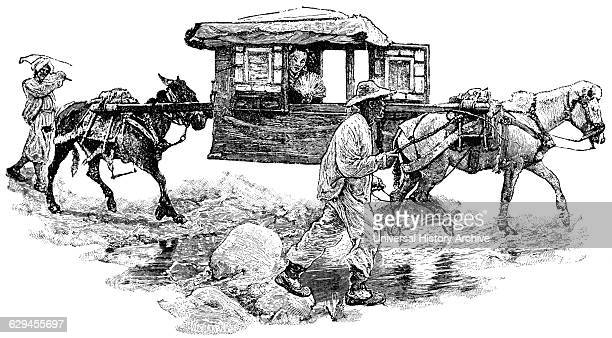 Litter Being Transported by Horses China 'Classical Portfolio of Primitive Carriers' by Marshall M Kirman World Railway Publ Co Illustration 1895