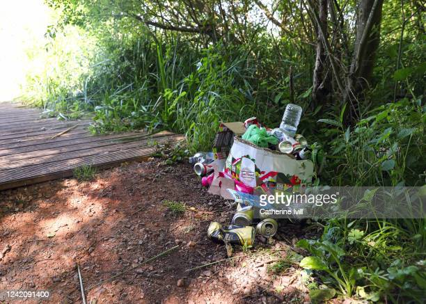 Litter is left in woodland by visitors to a beauty spot on June 02 2020 in Aylesbury United Kingdom The British government further relaxed Covid19...