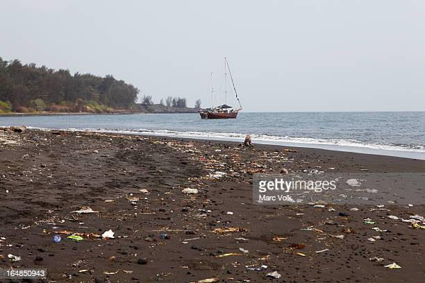 Litter washed up on the beach of Krakatoa Island, Indonesia
