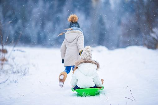 Little adorable girls enjoy a sleigh ride. Child sledding 519393638