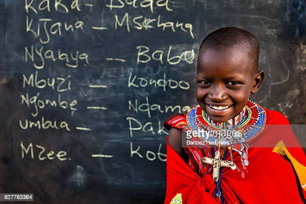 Little African girl during Swahili language class, East Africa