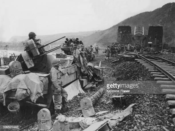 Little After March 11 Allied Troops Positioned An Anti-Aircraft Battery On The West Bank Of The Remagen Bridge Which They Had Crossed On March 7,...