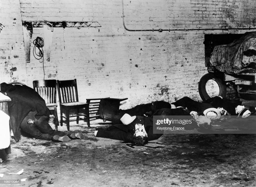 Little After The Massacre Of February 14, 1929, The Corpses Of Bug Moranu0027S  Gangsters