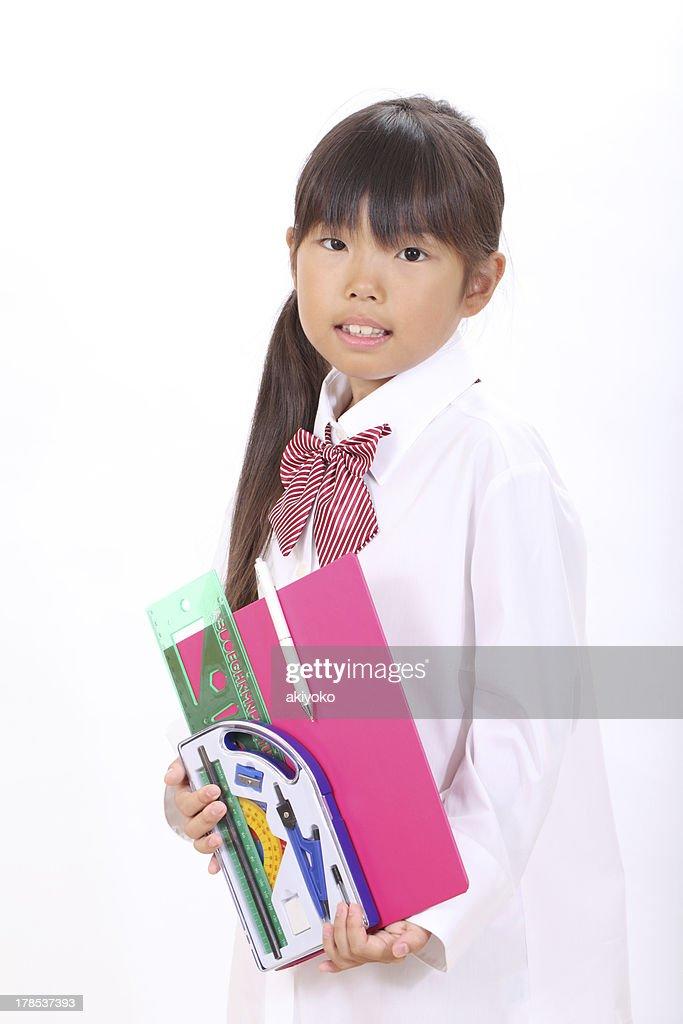 Little Asian Schoolgirl Stock Photo