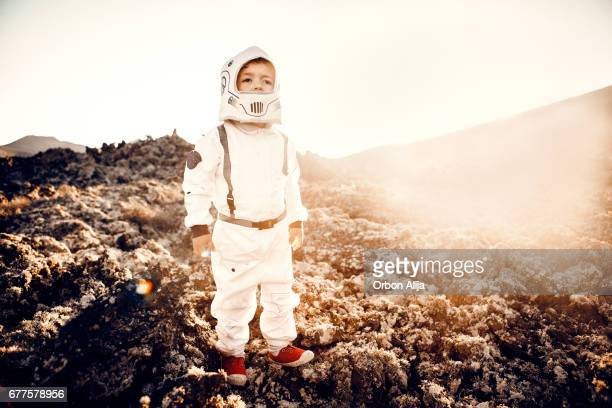 Little astronaut in the moon