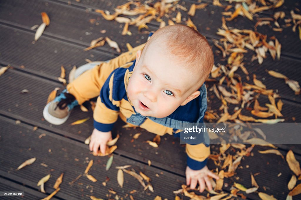 Little baby playing with autumn leaves on a wooden floor : Stock Photo