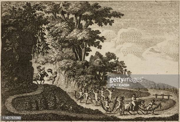 Little bacchanal rural scene with dancing cherubs and goats engraving and drawing by Riboldi plate 1 from Dell'arte dei giardini inglesi by Ercole...