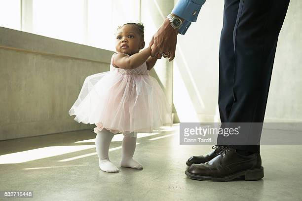Little Ballerina Dancing with Father