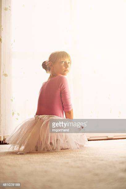 Little ballerina practicing at home
