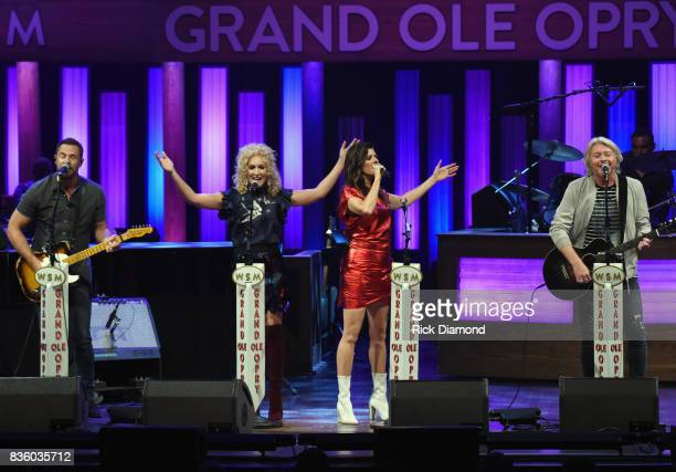 Little Big Town L/R Jimi Westbrook Kimberly Schlapman Karen Fairchild and Phillip Sweet perform during Grand Ole Opry Total Eclipse 2017 Special...