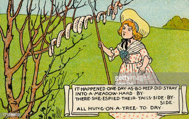 Little Bo Peep a shepherdess who loses her sheep Nursery rhyme dates back to Victorian era Illustration portrays the verse where Bo Peep finds their...
