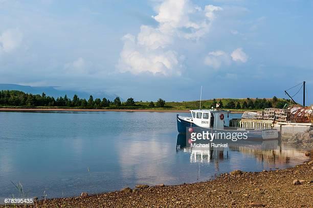 Little boat in the bay of Dingwall, Cape Breton Highlands National Park, Cape Breton Island, Nova Scotia, Canada, North America