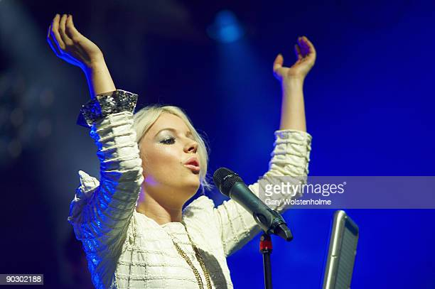 Little Boots perform on stage on the last day of Leeds Festival at Bramham Park on August 30 2009 in Leeds England