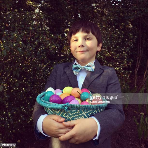 Little Boy and a Big Easter Basket