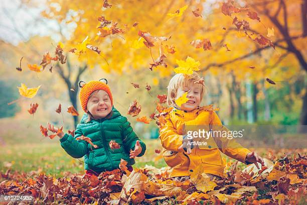 little boy and girl in autumn park - herfst stockfoto's en -beelden