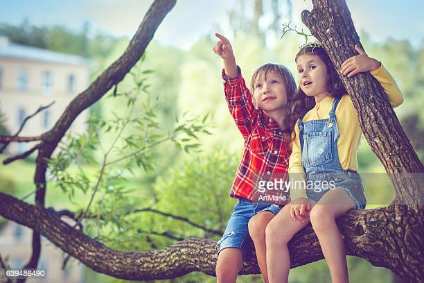 Little boy and girl in summer