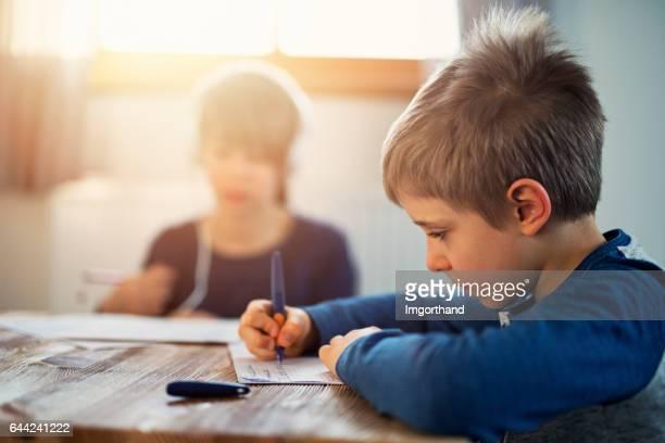Jongetje en zijn oudere zus doen hun homeworks