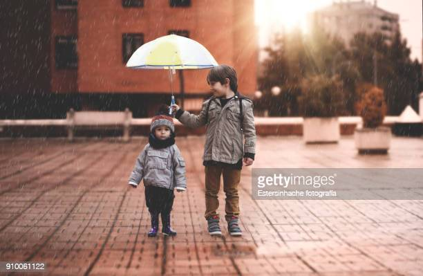 a little boy and his older brother protect themselves from the rain with an umbrella, in the city - asistir fotografías e imágenes de stock