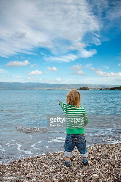 little boy at chrysochou bay , cyprus - アカマス半島 ストックフォトと画像