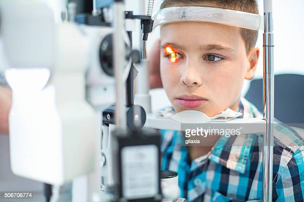 Little boy at optician's office.