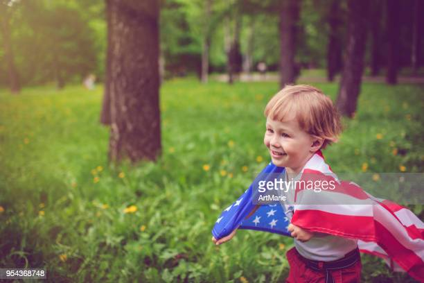 Little boy celebrating Fourth of July