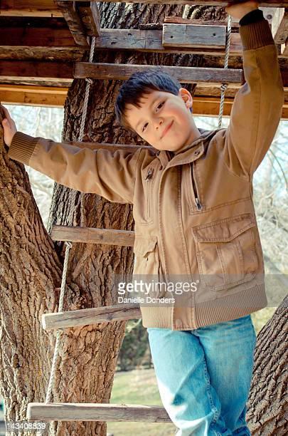 Little boy climbing into treehouse